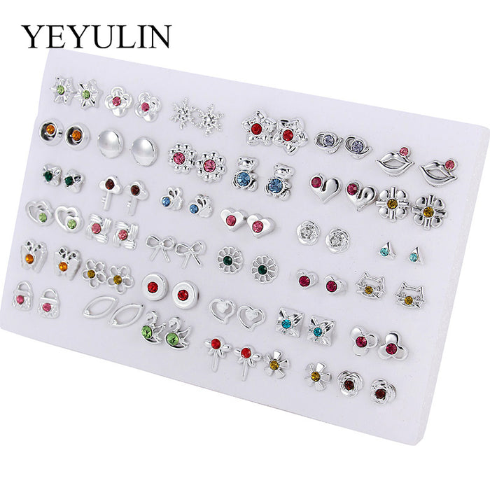 36 Pairs Bright Silver Mutli-style Plastic Crystal Round Animals Geometric Stud Earrings Set For Women Girls Jewelry Gift