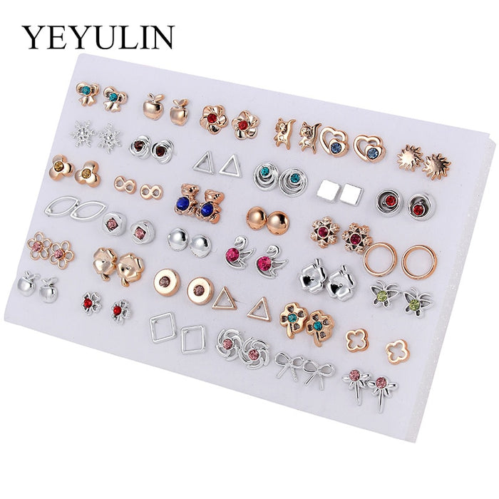 36 Pairs Gold & Silver Colorful Rhinestone Hollow Flower Cute Bear Animals Mix Style Plastic Stud Earrings Set For Women Girls