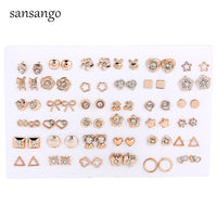 36 Pairs/Set Mixed Style Anti Allergic Cute Animal Star Bow Crystal Stud Earrings Set Gold Color Plastic Small Earring For Women