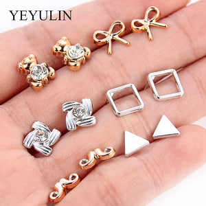 36pairs Fashion Silver Gold Color Plastic Stud Earings Sets For Women Girls Cute Mini Heart Star Crystal Swan Shape Ears Jewelry