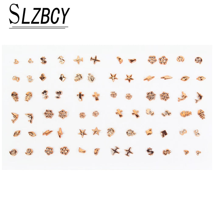 36pairs/set Gold Silver Color Small Stud Earrings Sets For Women Girls Metal Alloy Geometric Star Round Earring Jewelry Brincos