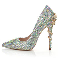 NEW Female Crystal Design High Heel Metal Snake Pumps 2020