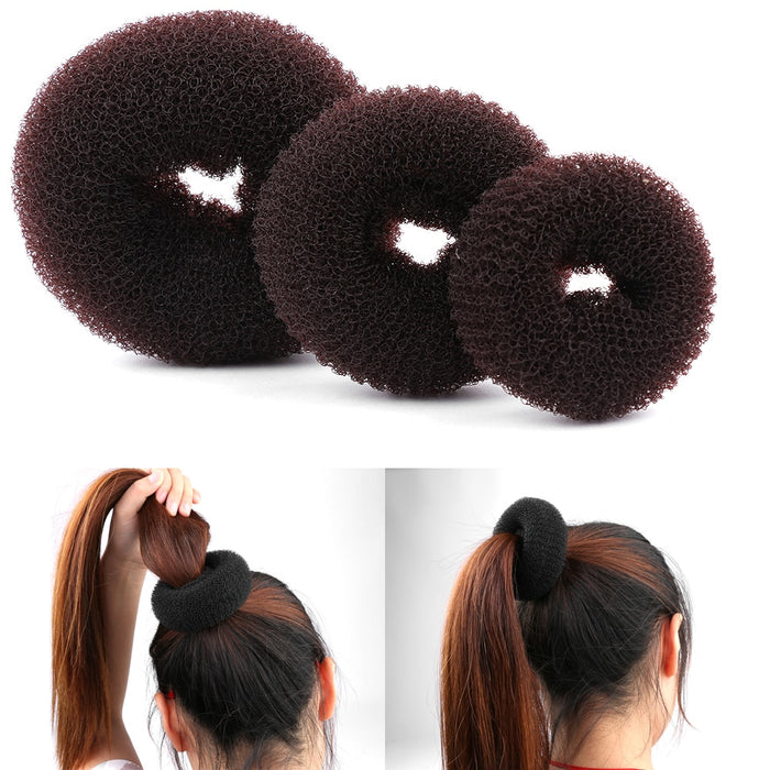 3Pc/Set Round Circle Elastic Ponytail Holder Headwear Hair Rope Ties Bun Bands Accessories Styling Tools Braider Women Girl