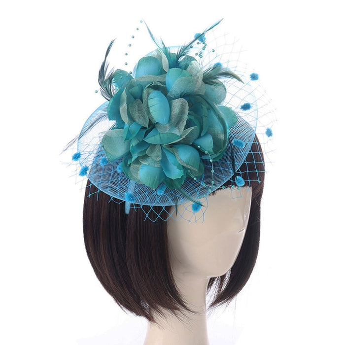 3Pcs/Set Women Feather Fascinator Bridal Bead Mesh Big Flower Hair Clip Headband