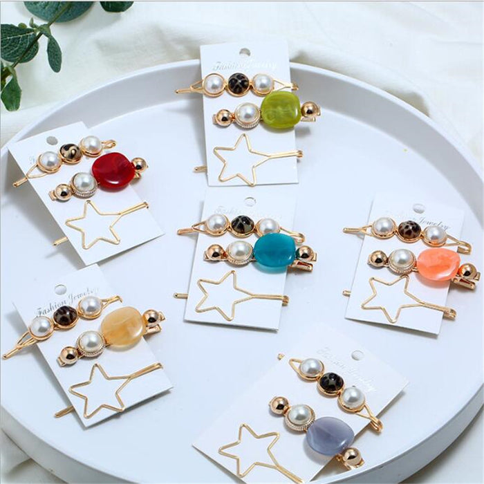 3pcs Vintage Acetic Acid Acrylic Resin Star Hairpins For Women Imitation