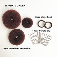 3pcs size S/M/L New Fashion Women Lady Magic Shaper Donut Hair Ring Bun Accessories Styling Tool Hair Accessories