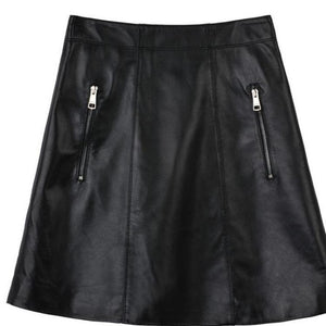 Black Real Genuine Leather Skirt High Waisted Mini Skirts Women Bodycon Zippers