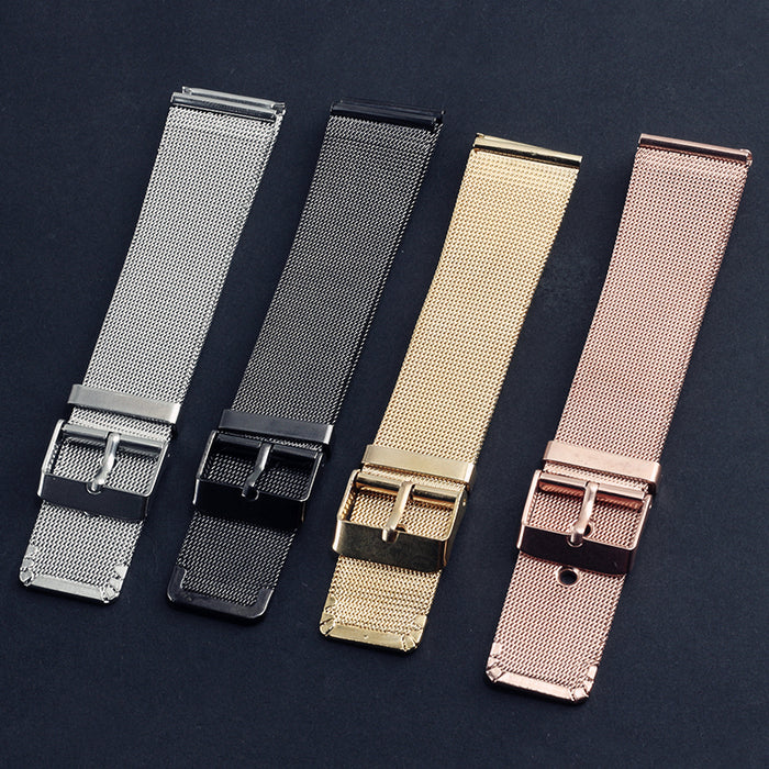 4 Color 20MM Stainless Steel Mesh Belt Watchbands Rose Gold Silver Black