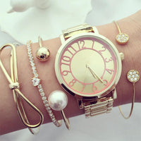 4 Pcs/ Set Women fashion Bowknot Heart Love Round Crystal Pearl Gold Opening Bracelet Fashion Multilayer Bracelet Set