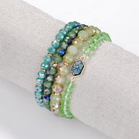 4 Pieces Faceted Natural Stone Glass Beads Elastic Bracelet Beads Stacked Set Oval Quartz Bracelets for Women