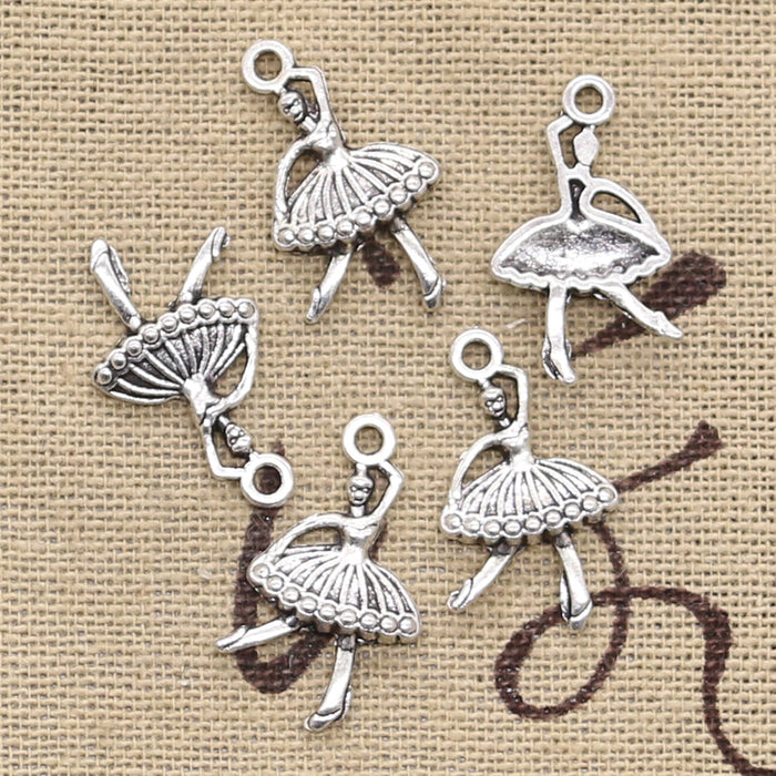 40pcs Charms ballet girl dancer ballerina 22x12mm handmade Craft pendant making fit,Vintage Tibetan Silver,DIY for necklace