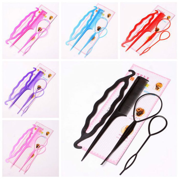 4PCS Hair Disk Pull Hair Pins Clips Comb For Girls Hair Styling Tools Kit Braiding Donut Bun Maker Hairdressing Accessories