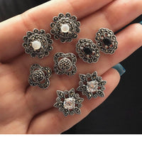 4Pair/set Women's Fashion Creative Personality Pop Opal Flower Retro Earrings Set