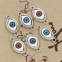 4pcs Charms 3colors devil eye 30x15mm Antique Tibetan Silver Pendant Findings Accessories DIY Vintage Choker Necklace