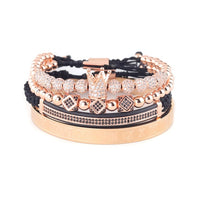 4pcs/Set Luxury Copper beads King Crown Men Bracelet Stainless steel bangle CZ Ball macrame bracelets & bangles for Men Jewelry