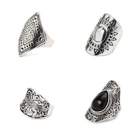 4pcs/Set Women Bohemian Vintage Silver Stack Rings Above Knuckle Rings Cocktail RING