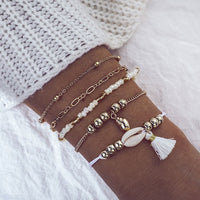 5 Pcs/Set Sea Snail Shell Charm Bracelet Set for Women Gold Link Chain Shell Charm Bracelet Boho Statement Braclets for Women