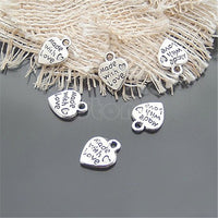50pcs/set Fashion Metal Silver MADE WITH LOVE CZ Heart Charms Pendants Necklace Beads for DIY Big Hole Beads Bracelets Charms