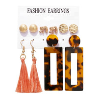 5Pcs/Set Creative New Elephant Acrylic Leopard Fringe Stud Earring Set