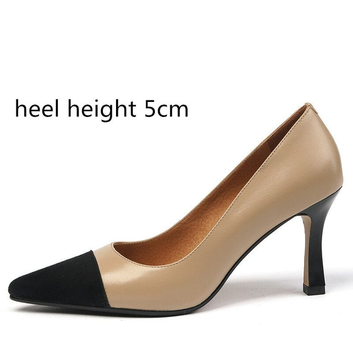 NEW Height Heel Mixed Colors Genuine Leather Pointed Shoes 2020