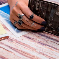 5pcs/Set Women Bohemian Vintage Silver Stack Rings Knuckle Blue Rings Set Cocktail RING  for Women