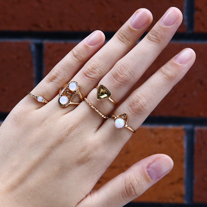 5pcs Vintage Boho Crystal Ring Women Punk Opal Knuckle Midi Stacking Rings Gold Color Opal
