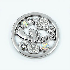 5pcs/lot In Stock Scheibe Baby Feet Open Disc with CZ Crystal Coin for35mm My Coin Holder Pendant Necklace