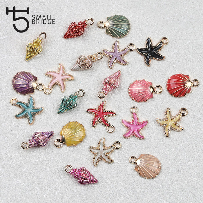 6 7 8 21PCS/Set Drop Oil Alloy Fashion Enamel Charms for Jewelry Making handmade pendant necklace starfish shell beads wholesale