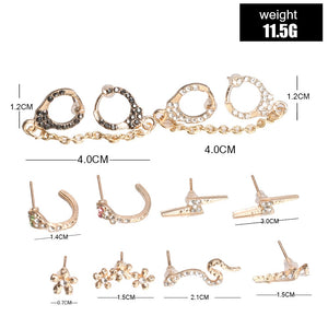 6 Pairs Vintage Bohemian Mix Little Snakes Crystal Piercing Earrings for Women Circle Flowers Handcuffs Ear Cuff Earring Set