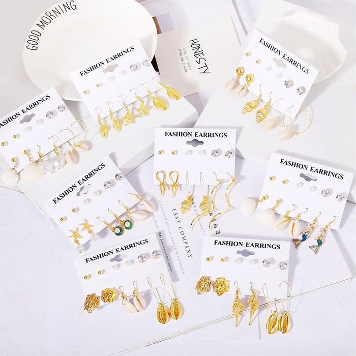 6 Pairs/set 2019 Fashion Female Gold Metal Natural Shell Earrings Set For Women Boho Crystal Pearl Small Stud Earring Mixed Gift