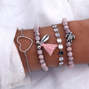 6 Pcs/Set Punk Butterfly Eye Star Moon Leaves Crystal Gem Shiny Gold Multilayer Chain Bracelet Set Women Exquisite Party Jewelry