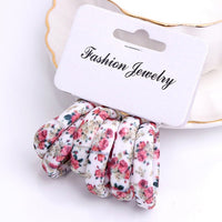 6Pcs/Pack Cotton Print Flowers Hair Ropes Leopard High Elastic