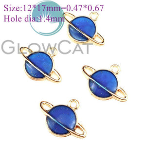 6X Blue Enamel Metal Moon Star Universe KC Gold Color Charms Girls Women DIY Necklace Pendant Jewelry Accessory Findings
