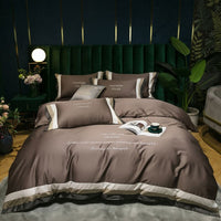 2020 High-end quality Egyptian cotton bedding set embroidered satin, light duvet cover bed sheet