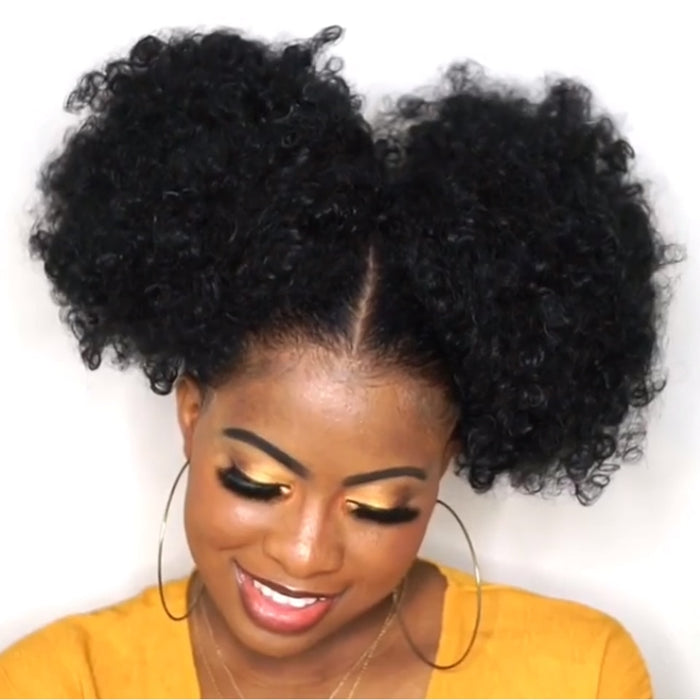 6inch Short Afro Puff Synthetic Hair Bun Chignon Hairpiece For Women Drawstring Ponytail Kinky Curly Updo Clip Hair Extensions