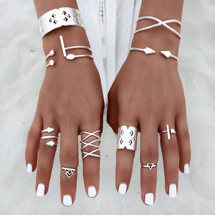 6pcs/Set Women Bohemian Vintage Silver Stack Rings Above Knuckle Blue Rings Set  Vintage Joint Ring for Women Jewelry
