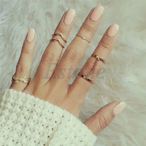 6pcs/set Vintage Punk Rings Set Leaf Personality Knuckle Midi Mid Finger Tip Stacking Chain Rings Boho Female Charms Jewelry