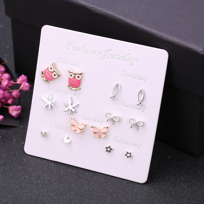 7 Pairs/Set Monday to Sunday daily earrings set for women creative design jewelry cute Owl bee hearts geometric stud earrings