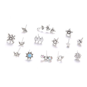 7 Pairs Vintage Bohemian Mix Design Little Crystal Piercing Earring for Women Leaf Moon Sun Snowflake Ear Studs Cuff Earring Set