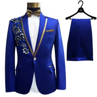 suit jacket boy 4 piece embroidered sequins costume show