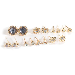 8 Pairs/set Boho Crystal Star Geometry Small Crystal Stud Earrings New Arrivel Woman Gold Stud Earrings Set Simple Shine Jewelry