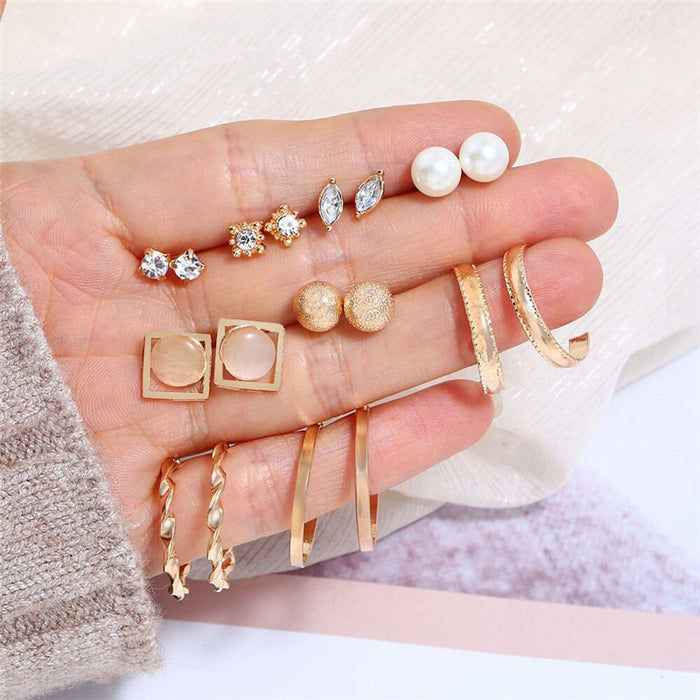 9 Pair/Lot Gold Color Ball Crystal Opal Stud Earrings for Women Female Big Round Circle Hoops Imitation Pearl Mix Earings Set