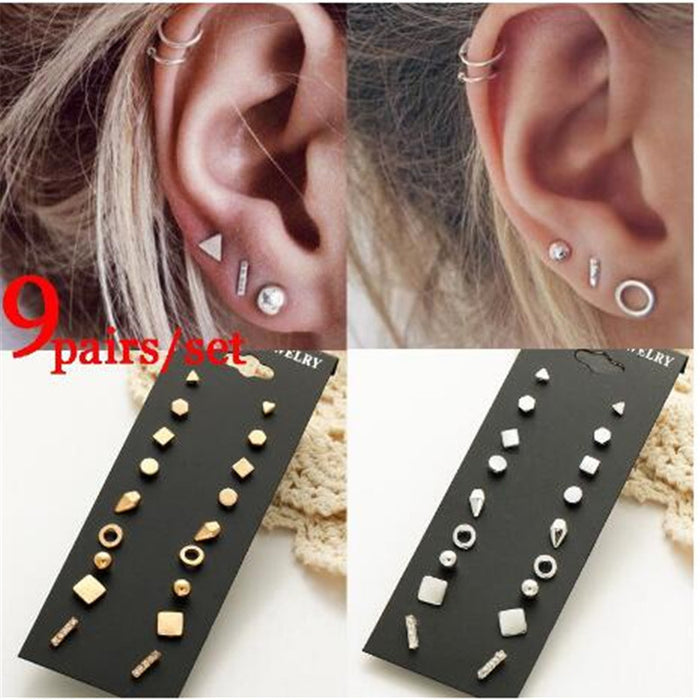 9 Pairs/set Women's Earring Stud Earrings for Women Girls Fashion Minimalist Gold Earrings Carnations Jewlery Gifts