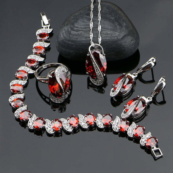925 Silver Jewelry Red Cubic Zirconia With White Beads Jewelery Sets For Women Bracelet/Earrings/Ring/Pendant/Necklace