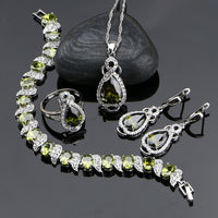 925 Sterling Silver Jewelery Olive Green Cubic Zirconia  Jewelry Sets For Women Earrings/Pendant/Necklace/Ring/Bracelet