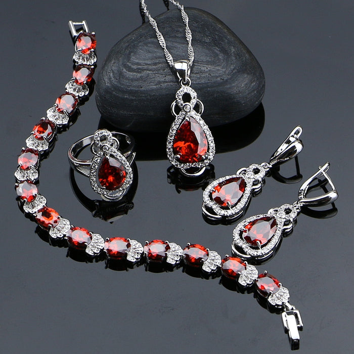 925 Sterling Silver Jewelry Red Cubic Zirconia With White Beads Jewelery Sets For Women Bracelet/Earrings/Ring/Pendant/Necklace