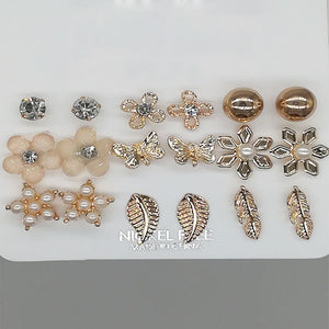 9Pairs/Set Fashion Boho Alloy Silver Gold Color Stud Earings Sets For Women Girls Cute Flower Crystal Leaf Shape Ears Jewelry