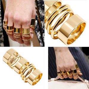 9Pcs/Pck Punk Gold & Silver Color Rings Female Stack Plain Band Midi Mid Finger Knuckle Rings