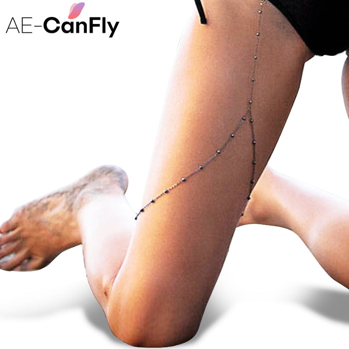 AE-CAFNFLY Beach Sexy Bikini Leg Chain Summer Body Jewelry Alloy Beads Thigh Chain for Women 2K4033