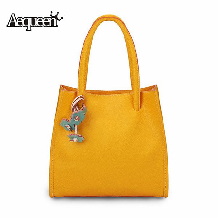 AEQUEEN Yellow Large Capacity Causal Shoulder Bags for Women 2018 Luxury Brand PU Leather Purses Handbags Female Tote Shopper